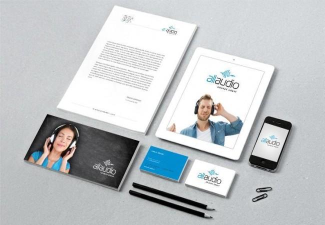 Identitate vizuala, Logo design brand All Audio