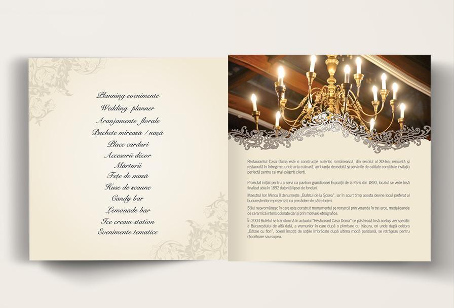 Creatie grafica brosura de prezentare restaurant Casa Doina - firma organizare evenimente Iwed