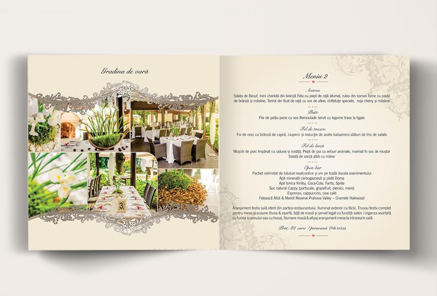 Creatie grafica brosura de prezentare meniu restaurant Casa Doina - firma organizare evenimente Iwed
