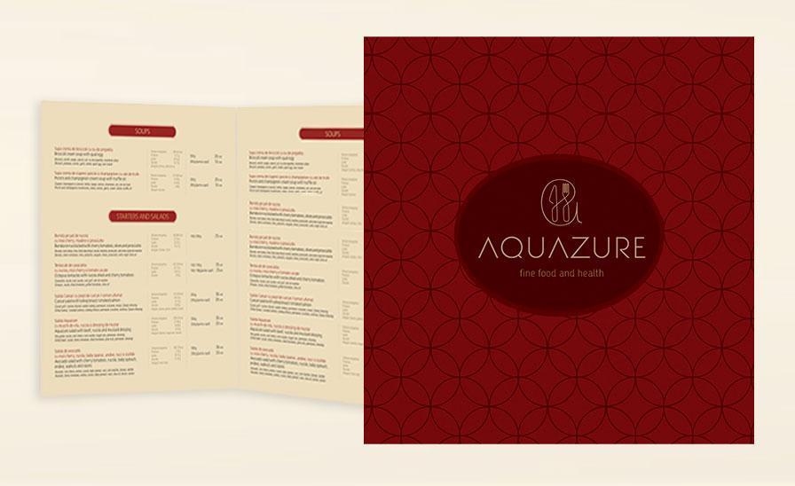 Creatie grafica si machetare meniu modern restaurant Aquazure