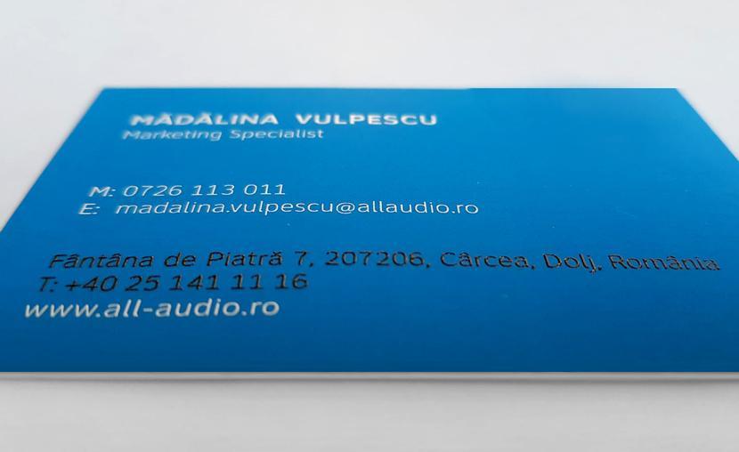 Printare carti vizita scris in relief AllAudio
