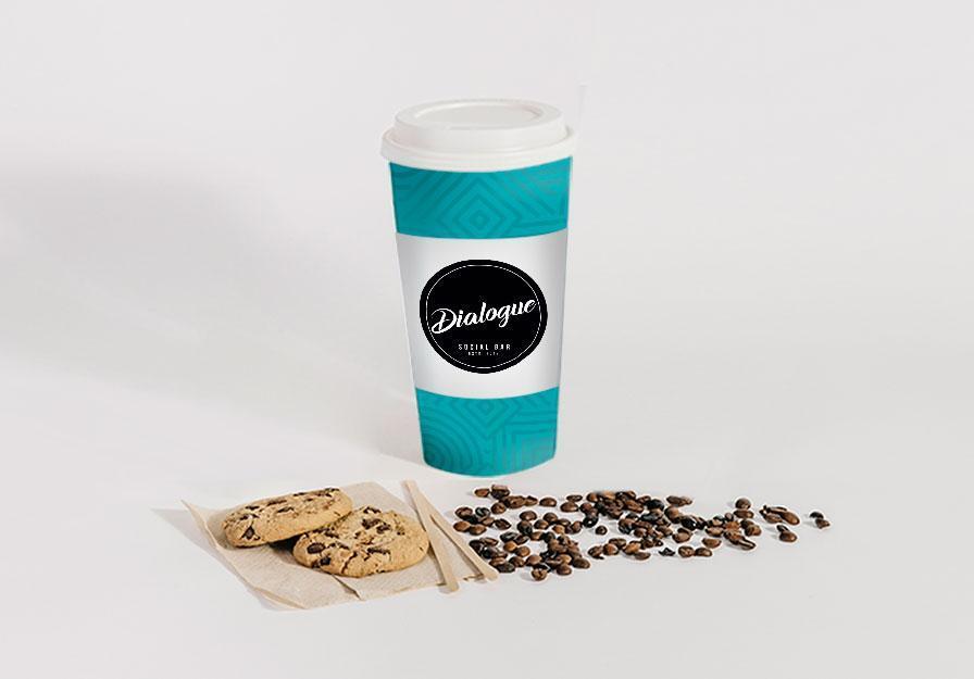 Propunere grafica design pahar cafea take away Dialogue Bar