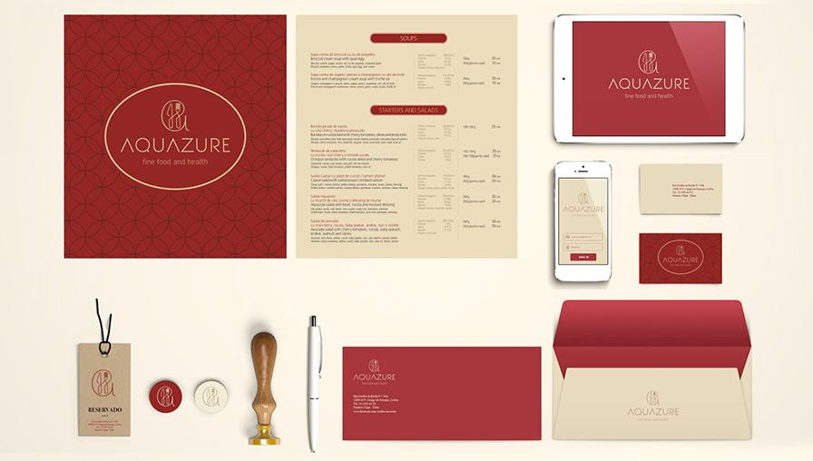 Logo design si materiale de brand pentru restaurant Aquazure